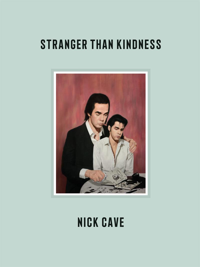 Buchcover: Nick Cave hält einen kleineren Nick Cave auf dem Schoß. Sie sitzen an einem Tisch, auf dem ein Buch mit Zeichnungen liegt. Ein Tintenfass ist umgekippt. Der größere Cave wischt Tinte auf.