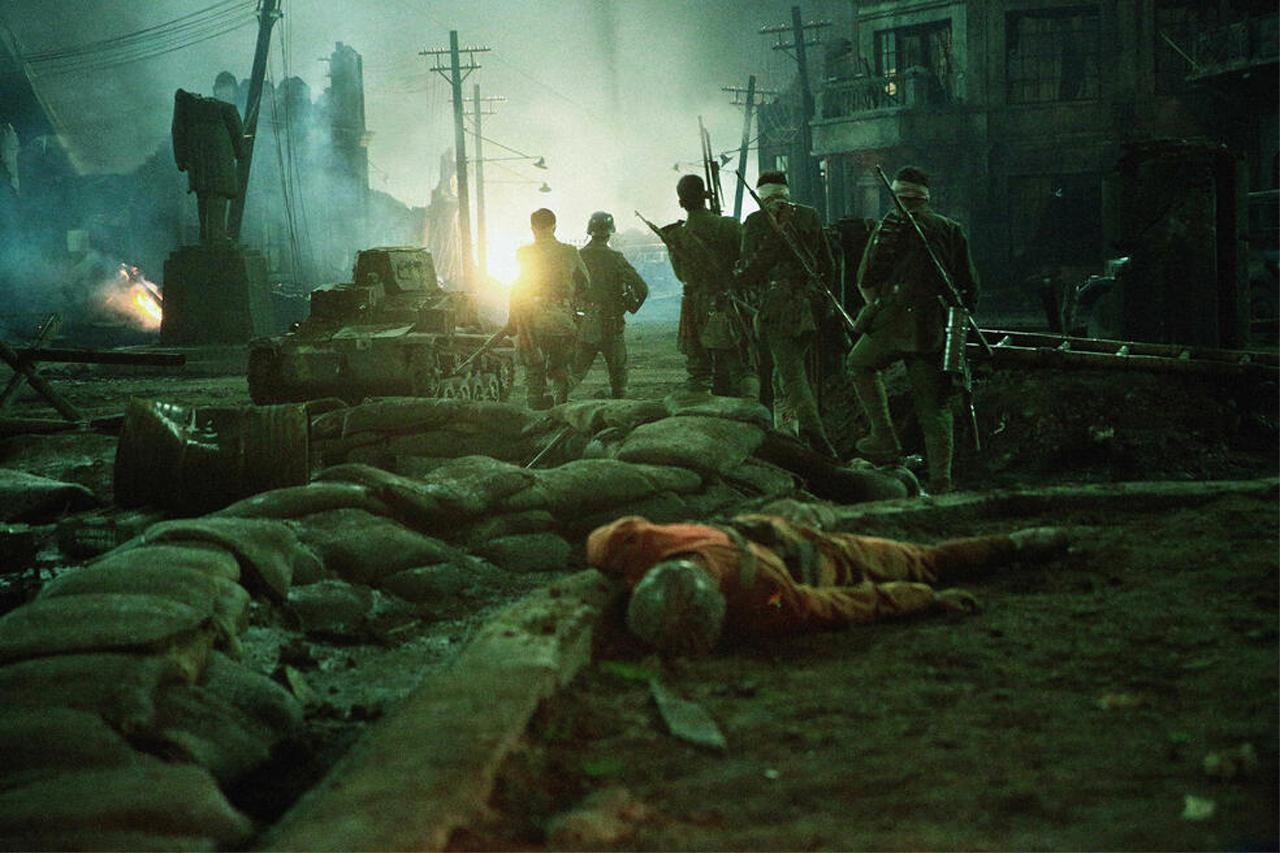Kriegsszene in den Straßen von Shanghai