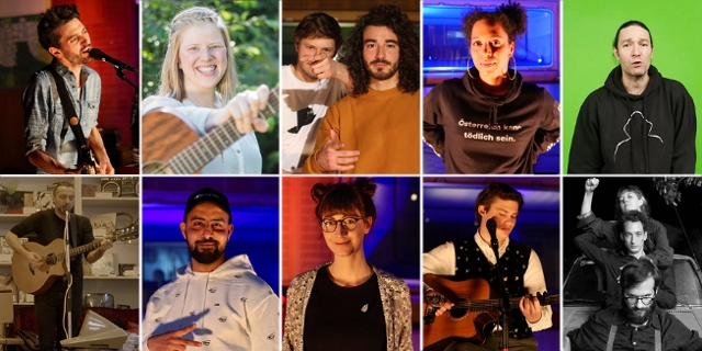 Collage der 10 Finalist*innen beim Protestsongcontest 2021