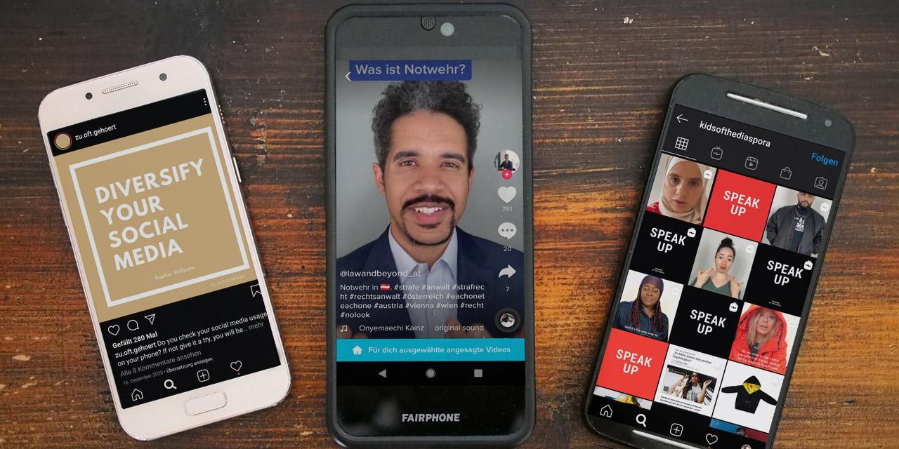 Drei Smartphones zeigen die Timelines von BIPOC-Influencerinnen