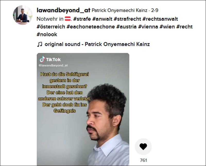 Screenshot eines TikTok-Videos von Patrick Oneymaechi, in dem er Notwehr erklärt