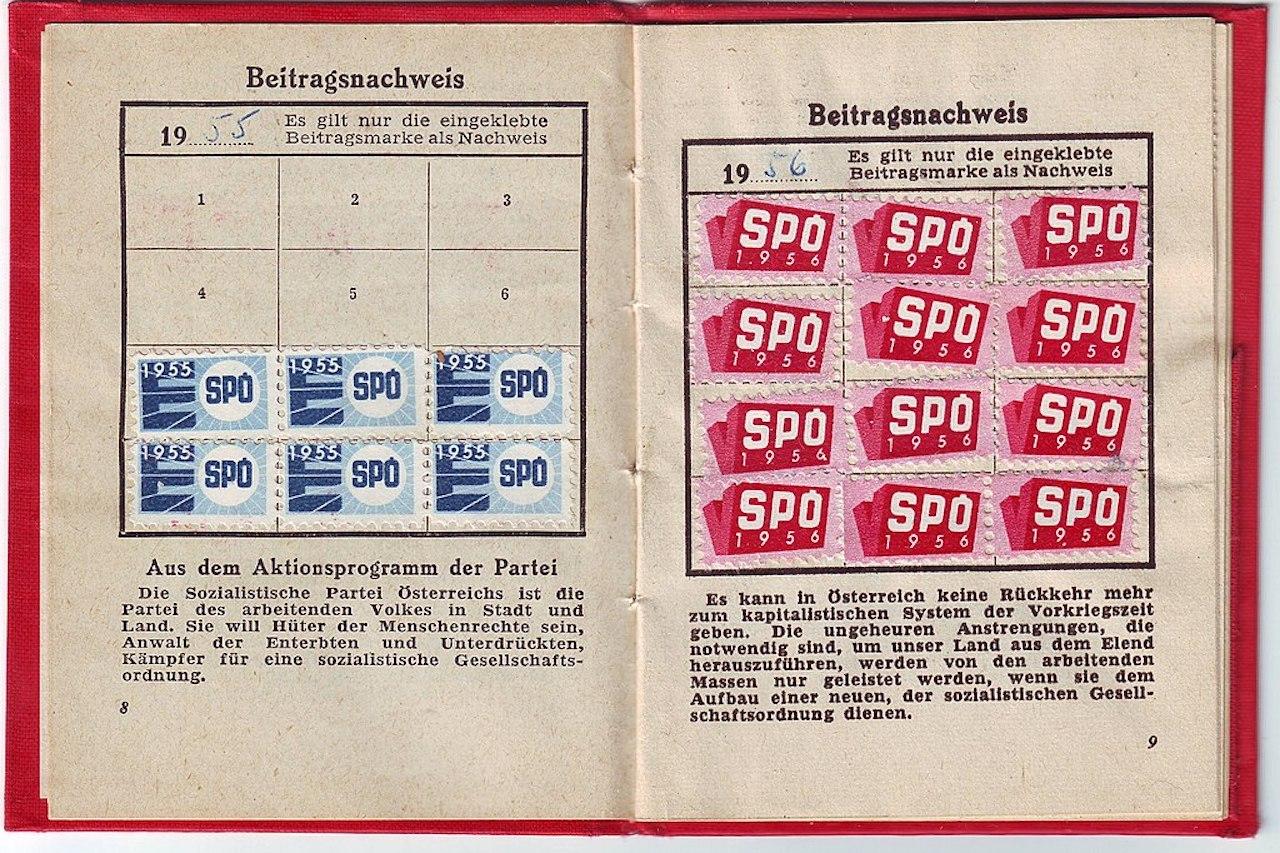 Mitgliedsbuch der Sozialistischen Partei Österreichs, jetzt: Sozialdemokratische Partei Österreichs (SPÖ), 1955, Beitragsnachweis 1955 und 1956