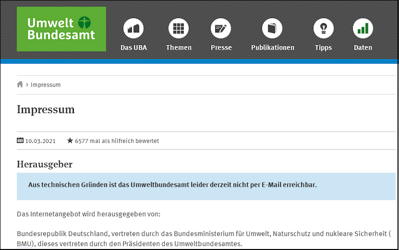 Umweltbundesamt DE Screenshot