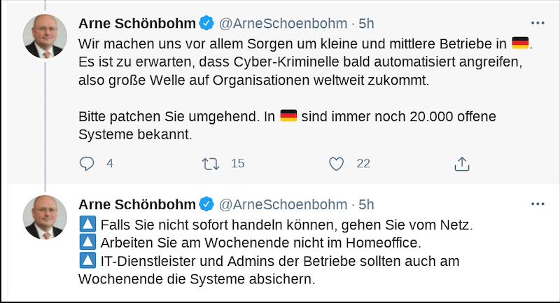 Twitter Screenshot Arne Schönbohm