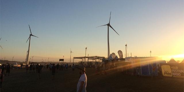 Festivalgelände in der Abendsonne