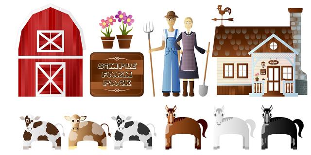 Bauernhoftiere gezeichnet