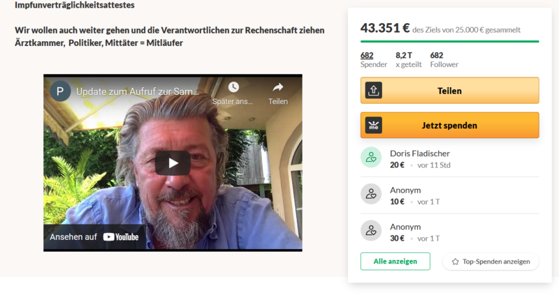 Screenshot Fundraising Peer Eifler
