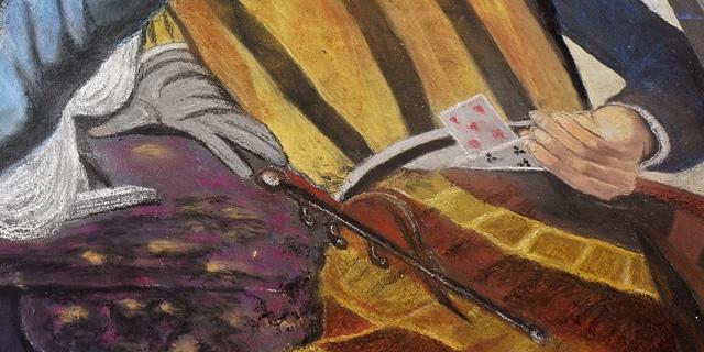 Mural einer historischen Kartenspielszene, in der eine der drei spielenden Personen hinterm Rücken Karten austauscht.