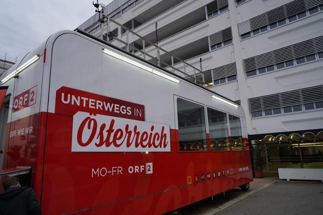 Das mobile Studio vor dem ORF-Zentrum