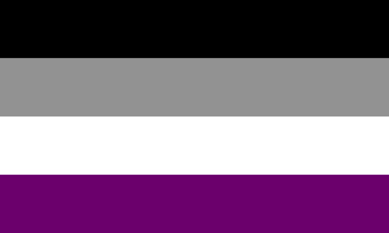 Flagge von asexual pride: Quergestreift Schwarz, Grau, Weiß, Zartviolett
