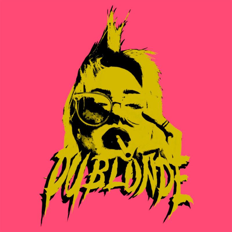"""Albumcover von Du Blondes """"Homecoming"""": Du Blonde ganz in gelb mit Zigarette auf pinkem Untergrund"""