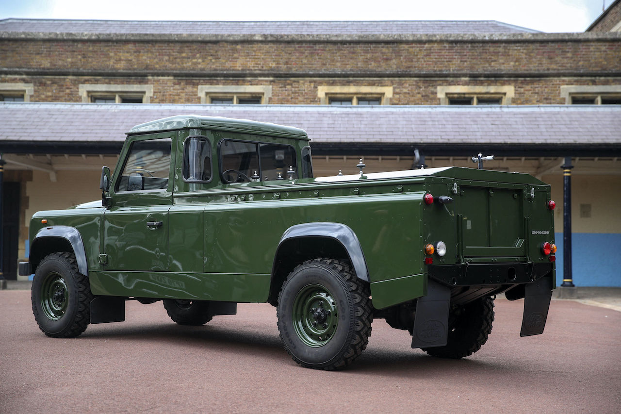 The Land Rover Defender that will be used to transport the coffin of Britain's Prince Philip, Duke of Edinburgh