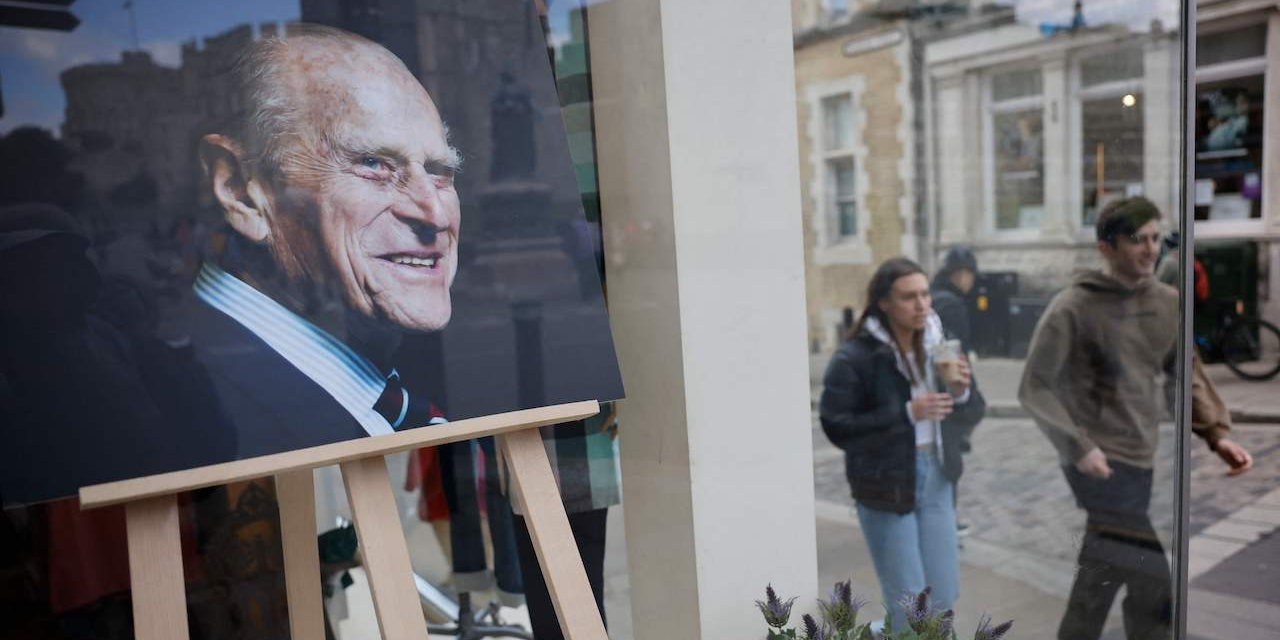 A portrait of Britain's Prince Philip, Duke of Edinburgh is placed in the window of a shop in Windsor,
