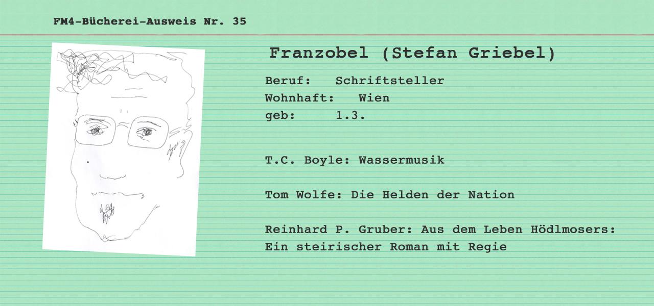 buechereiausweis von franzobel, gruene karteikarte mit zeichnung