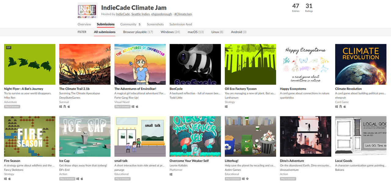 Einreichungen des Climate Jam 2020