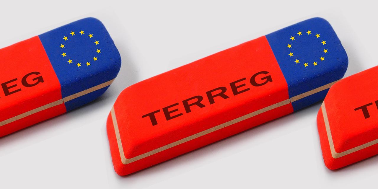 """Radiergummi mit EU-Flagge und der Aufschrift """"TERREG"""""""