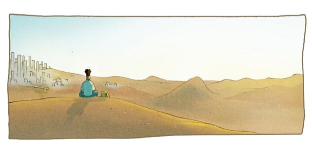 """Bilder aus der Graphic Novel """"Temple of Refuge"""". Person sitzt auf einer Sanddüne"""
