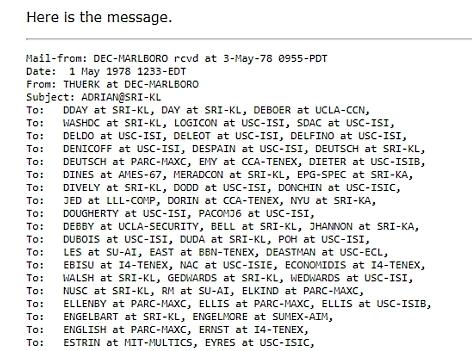 Originalmessage von Gary Thuerk 1978, das erste Spam