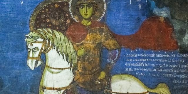 Heiliger Georg auf seltsam gemaltem Pferd, mittelalterliche Malerei