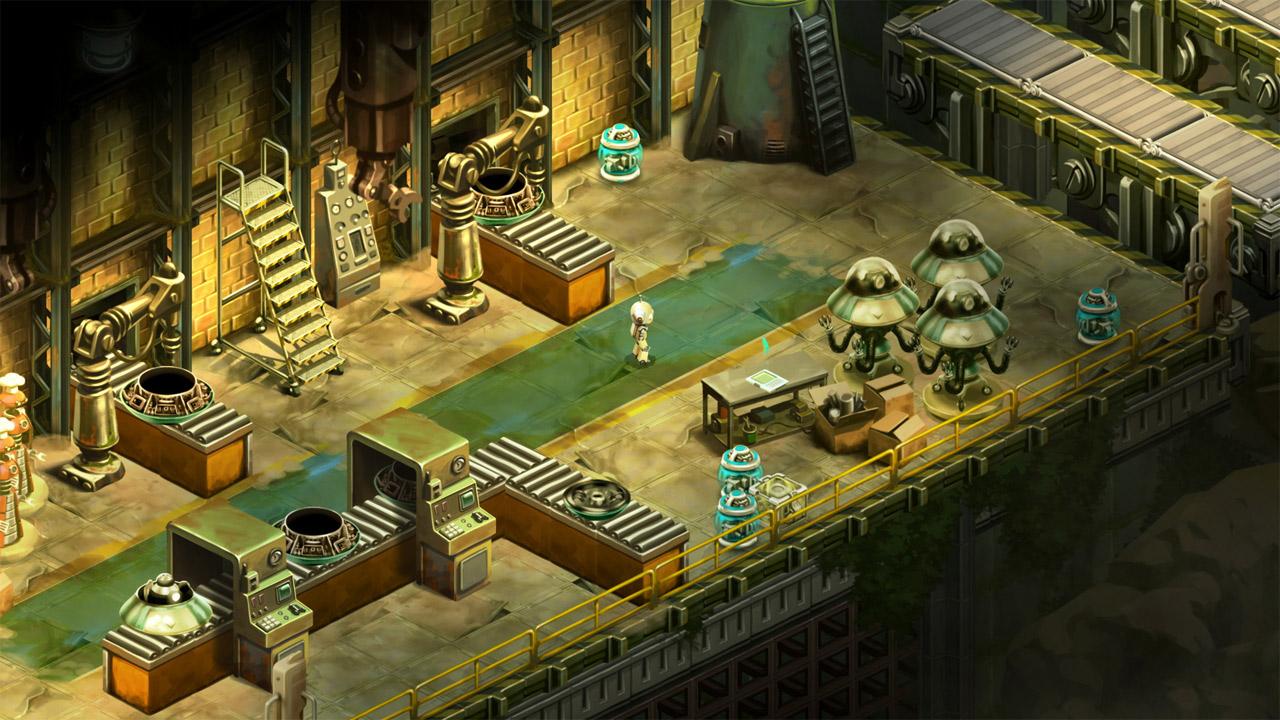 """Screenshot aus dem Game """"Retro Machina"""", ein kleiner Roboter ist die Spielfigur"""