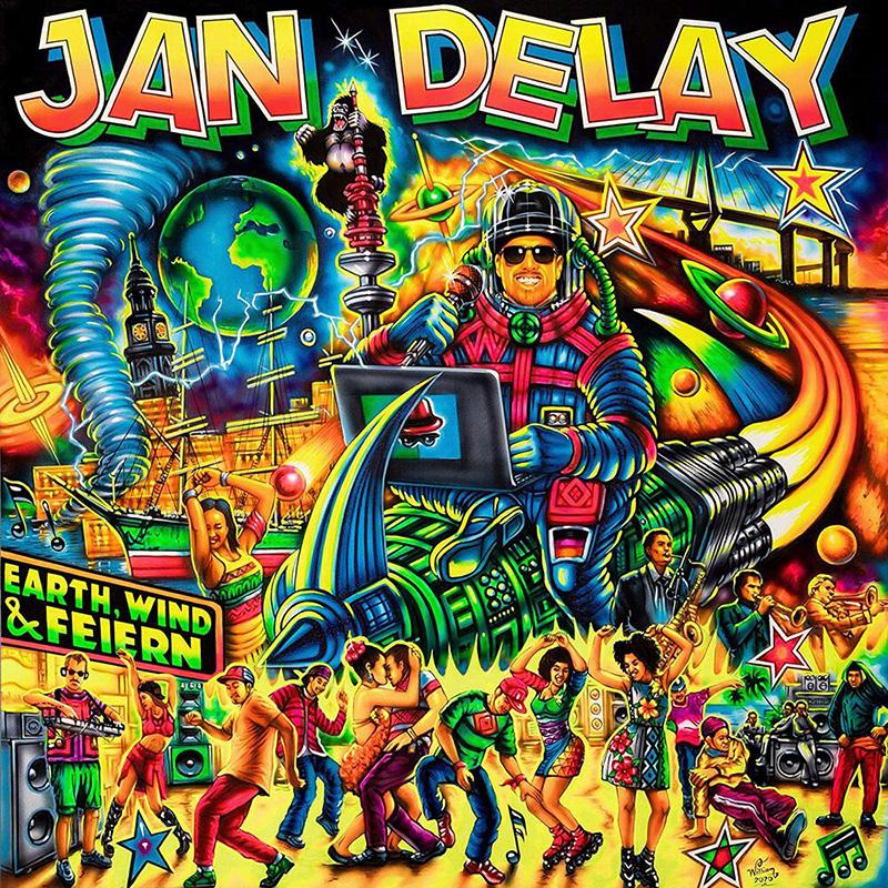 "Album-Cover Jan Delay: ""Earth, Wind & Feiern"", sehr aufgeladen im Comic-Stil"