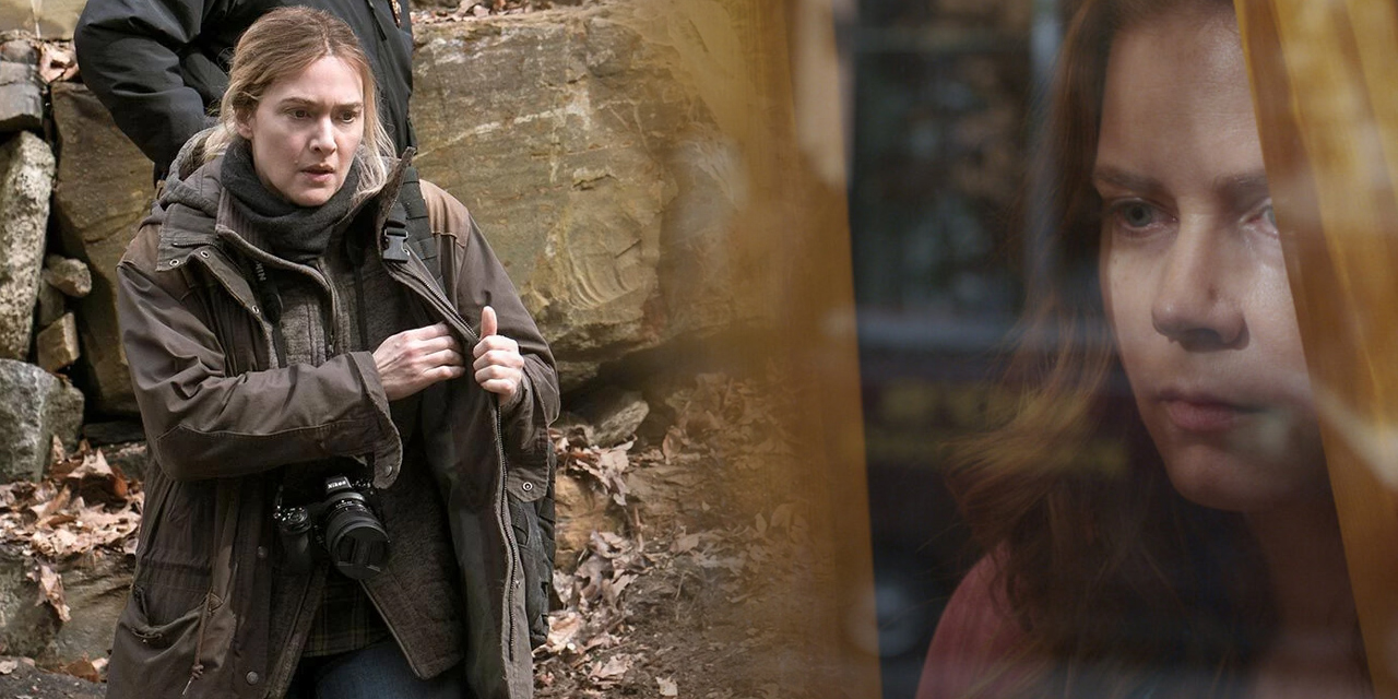 Links: Eine Frau mit Kamera an einem Tatort, hinter ihr ein Polizist. Rechts: Eine Frau schaut aus einem Fenster