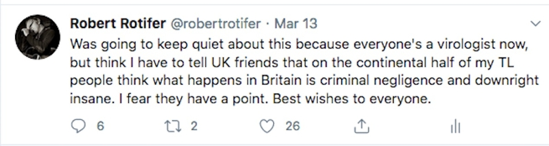 """""""I think I have to tell UK friends that on the continental half of my timeline people think what happens in Britain is criminal negligence and downright insane. I fear they have a point."""""""