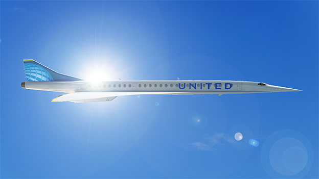 """Boom Supersonic """"Overture"""", United Airlines Edition, Retusche"""