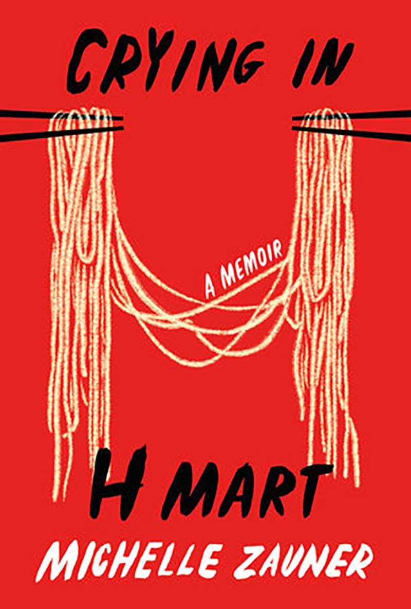 """Buchcover """"Crying in H Mart"""", roter Hintergrund mit Stäbchen und Nudeln illustriert"""
