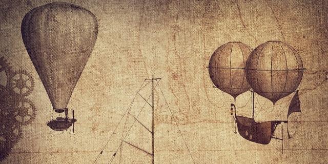 Antike Skizzen von Flugmaschinen