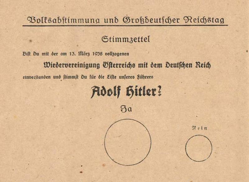 Stimmzettel zur Volksabstimmung für den Anschluss Österreichs an Nazideutschland 1938