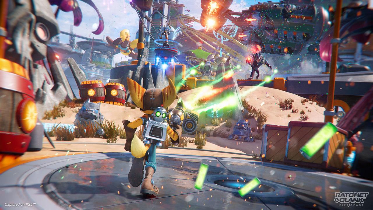 """Screenshot aus dem Videospiel """"Ratchet & Clank: Rift Apart"""""""