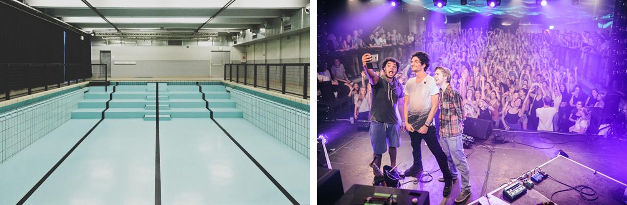 Zwei Bilder: Einmal der leere Pool, einmal voll mit Publikum