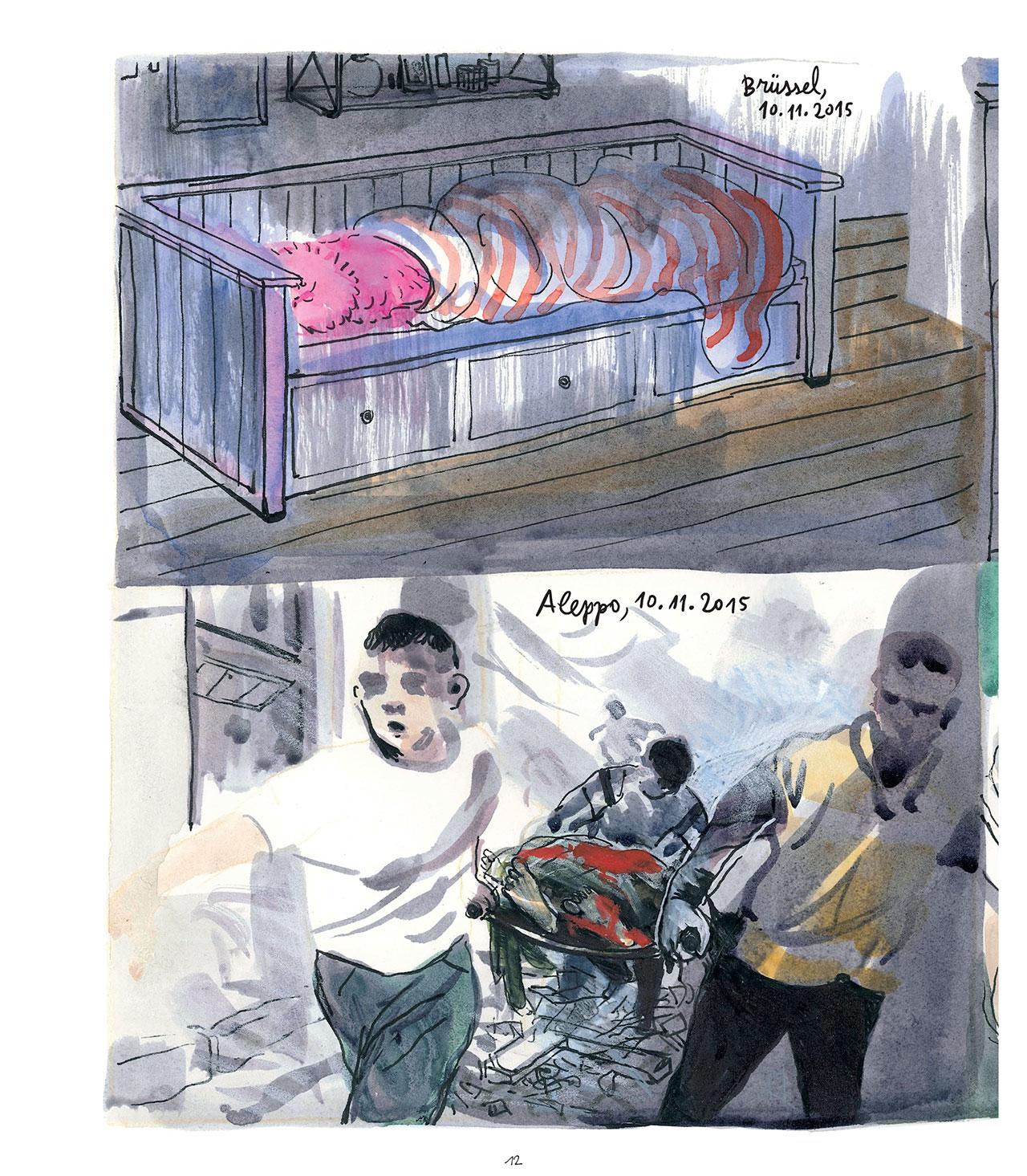 """Seiten aus der Graphic Novel """"Penelopes zwei Leben"""""""