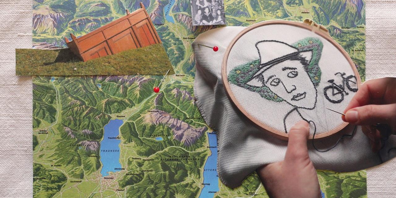 Kollage aus einer Landkarte mit Bergen und Seen, einem Stickrahmen und  einem Schwarz-Weiß-Foto