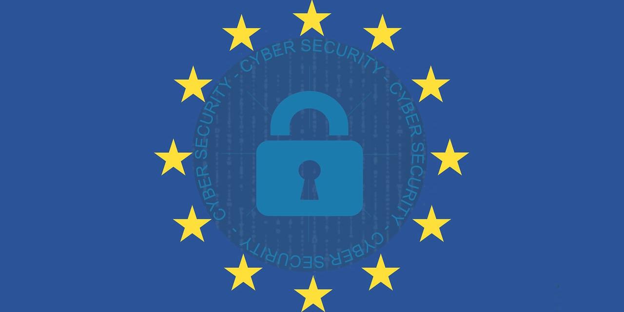 EU-Flagge mit Schloss-Symbol und Aufschrift Cyber-Security