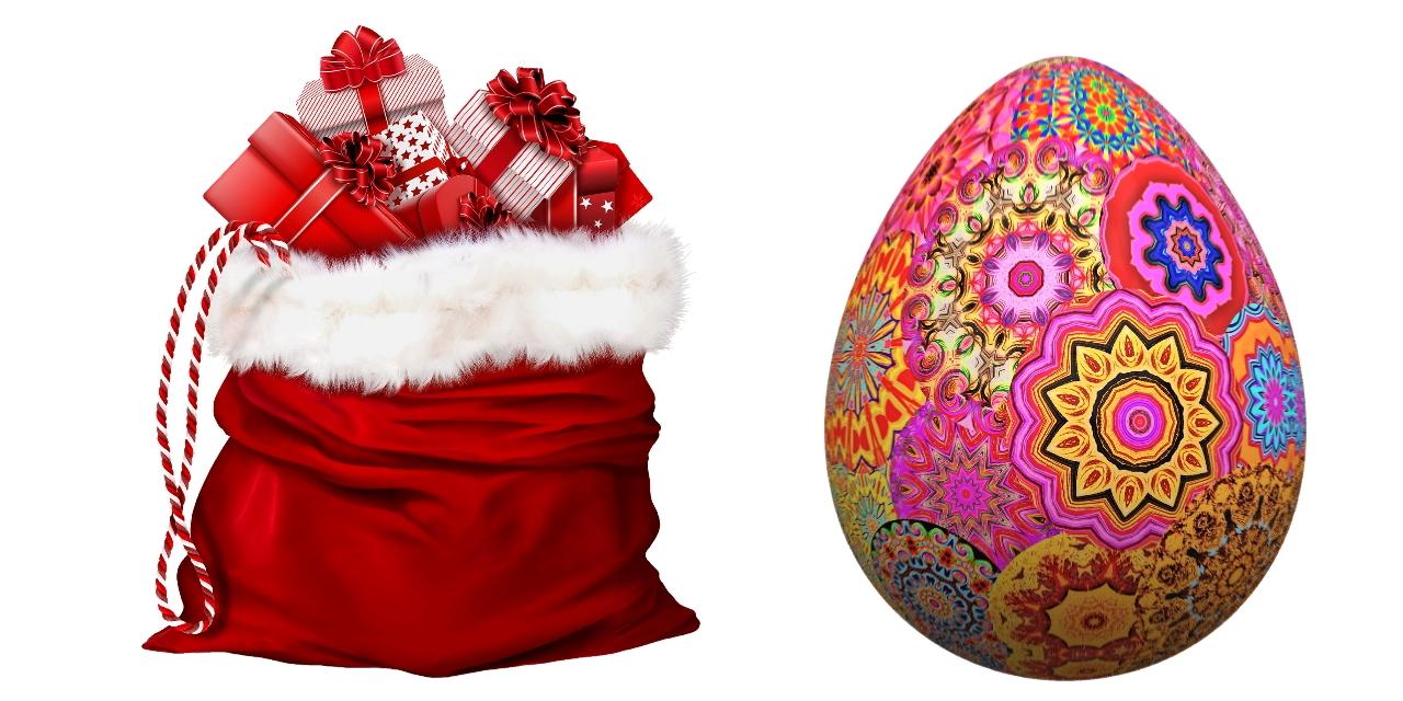 Weihnachtsmütze und Osterei