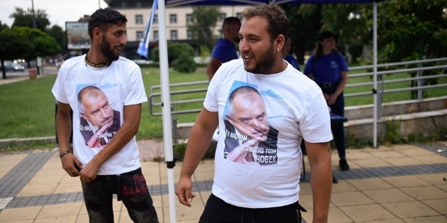 Supporters wearing tshirts with pictures of former Bulgaria's Prime Minister and leader of centre-right GERB party Boyko Borisov