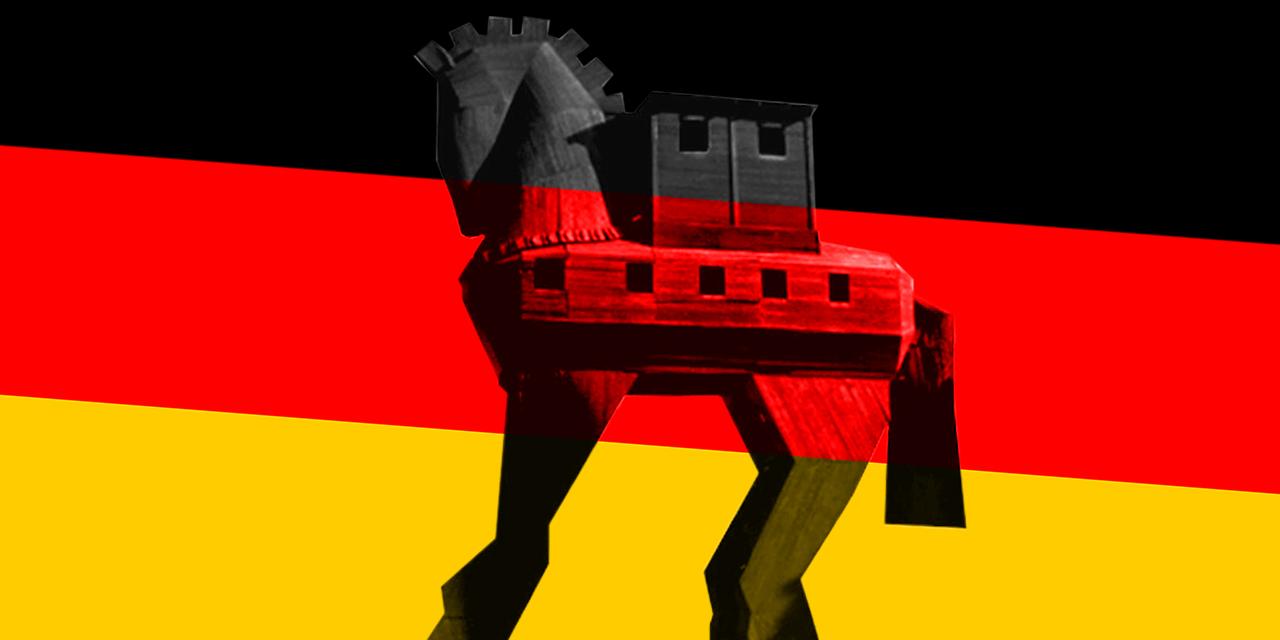 Ein trojanisches Pferd auf einer Flagge der Bundesrepublik Deutschland