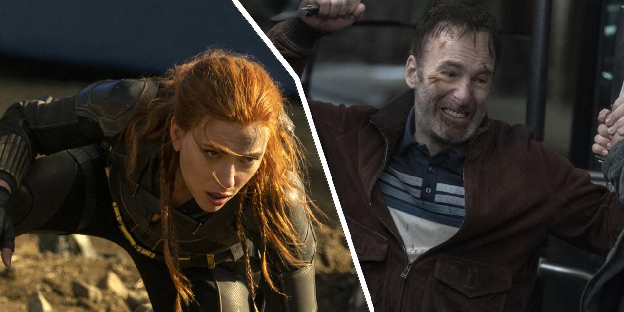 Eine Frau im Superheldinnenkostüm und ein kämpfender Mann  mit einem Messer in der Hand