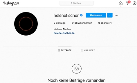 Screenshot Profil Helene Fischer auf Instagram
