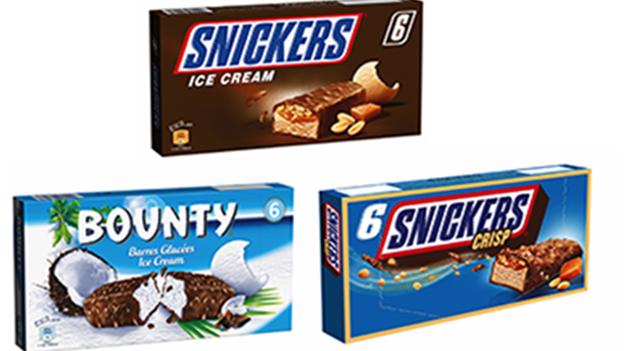 Snickers und Bounty Eiscremeprodukte