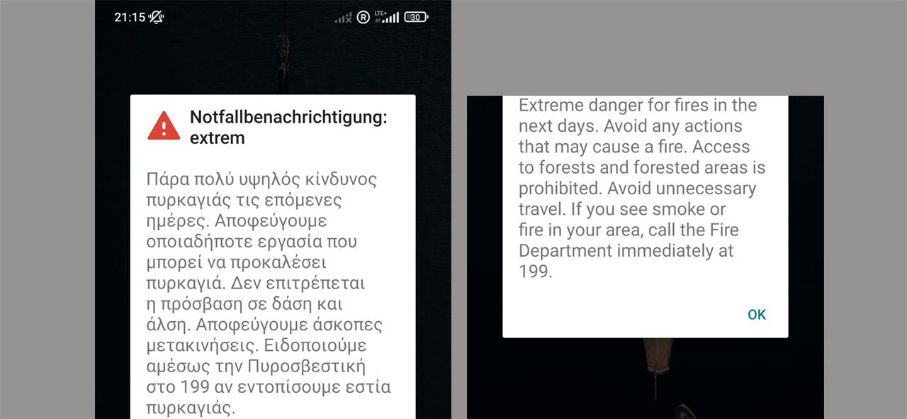 Warnung vor Feuern