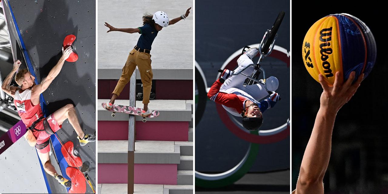 Montage: Jakob Schubert klettert, Rayssa Leal macht einen Boardslide am Skateboard, ein BMX-Freestyler macht einen Backflip und ein 3x3-Basketball