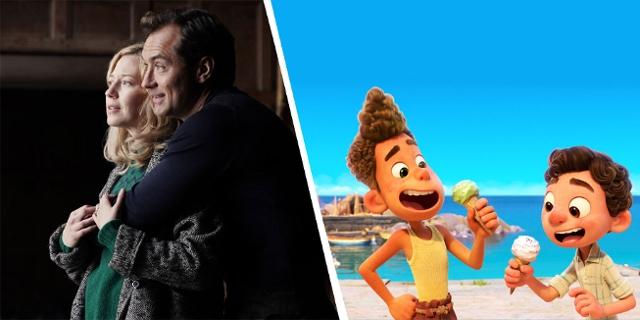 Montage aus zwei Filmen: Links ein Paar, das sich umarmt und in die Ferne schaut, rechts zwei Kinder, die ein Eis essen