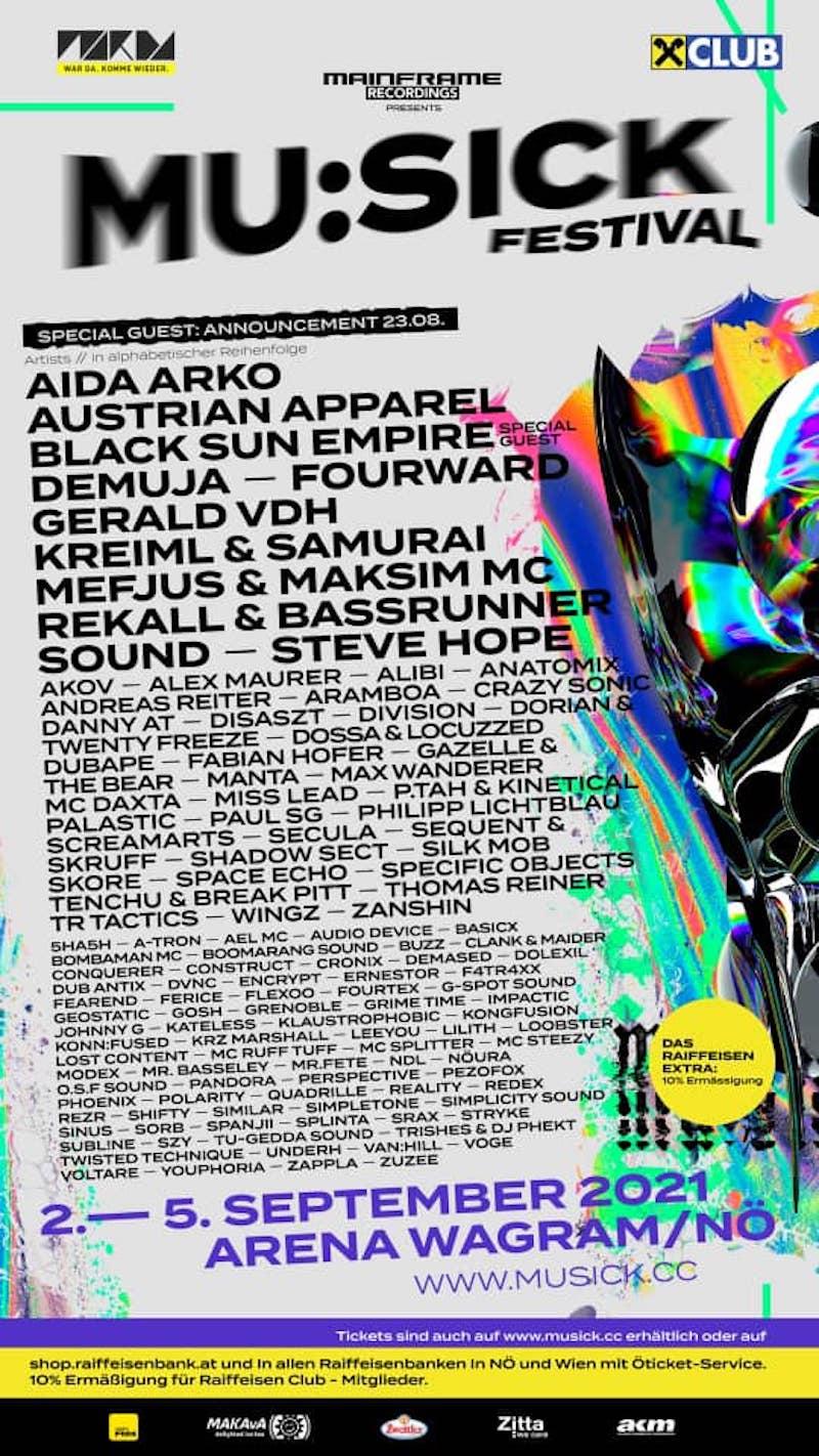 Lineup MU:SICK Festival 2021