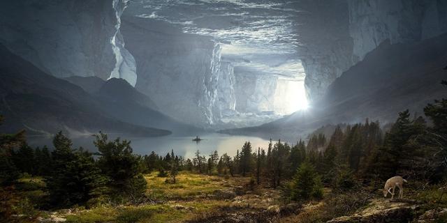 Fantasylandschaft in einer riesigen Höhle