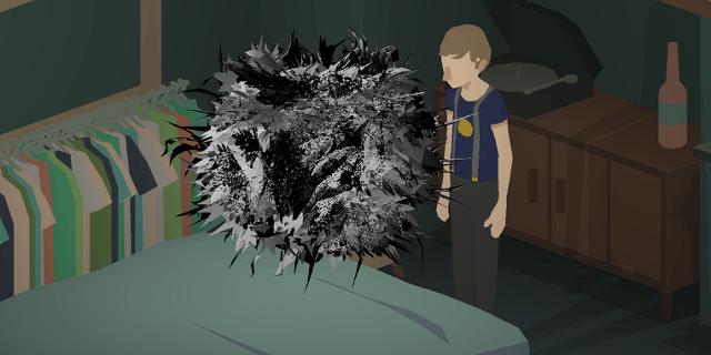 Screenshot von unbekanntem geometrischem Wesen über dem Bett