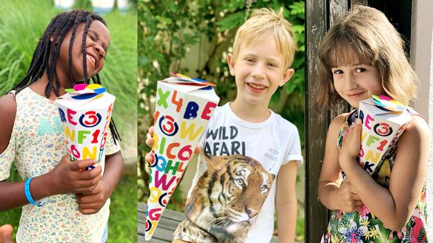 Kinder mit der Ö3-Schultüte