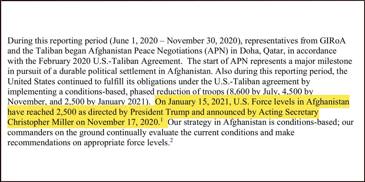 Auszug aus Strategiebericht zu US-Taliban Abkommen